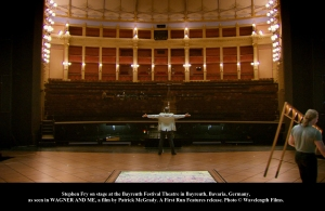 The Bayreuth Festival Hall seen from Stephen Fry's POV.