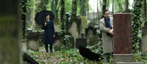 """Bill Skarsgård (left) as """"Simon"""" visits a Jewish cemetery with """"Ruben"""" (Jan Josef Liefers)."""